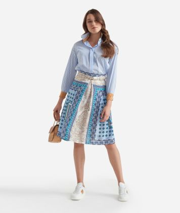 Gonna ampia con cintura in twill stampa Mosaico Azzurro
