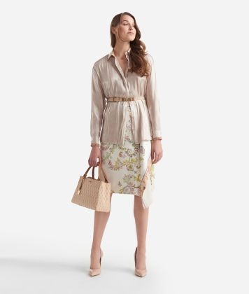 Wide shirt in smooth iridescent fabric Beige