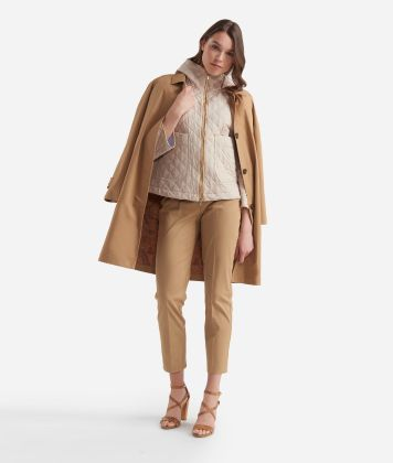 Quilted jacket in micropoly fabric Beige