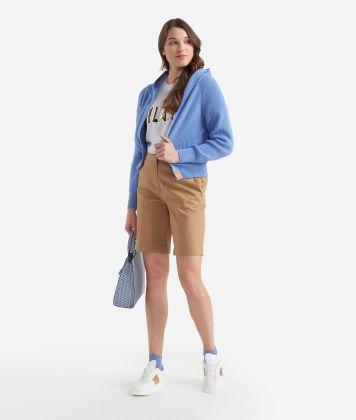 Cardigan con cappuccio in filato di cotone Azzurro