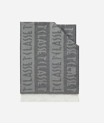 Logo all over stripes print foulard 30 x 180 Grey