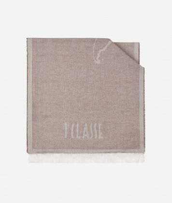 Geo Filetto print scarf 40 x 180 Beige