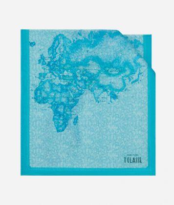 Geo Color print stole 45 x 180 Light Blue