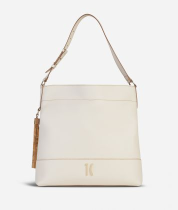 Praline Shoulder Bag in grainy leather White