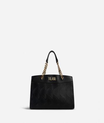 Majorelle Handbag in cowhide leather Black