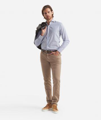 Slim fit shirt with stripes print White