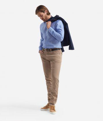 Slim fit shirt with stripes print Light Blue