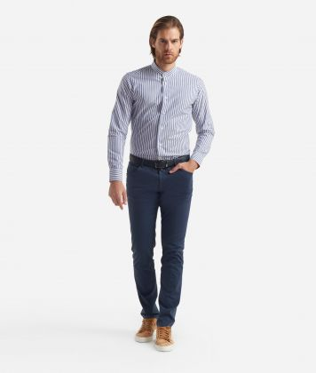 Slim fit shirt with bond collar Blu