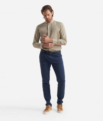 Slim fit shirt with bond collar Beige
