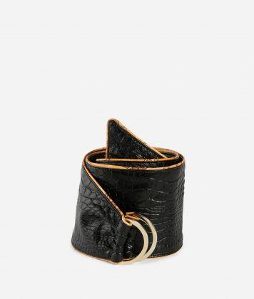 Cintura a bustino in ecopelle stampa cocco Nero