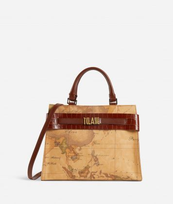 Stylish Bag Borsa a mano in tessuto Geo Classic Marrone
