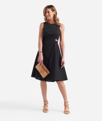 Asymmetric dress in cotton Black