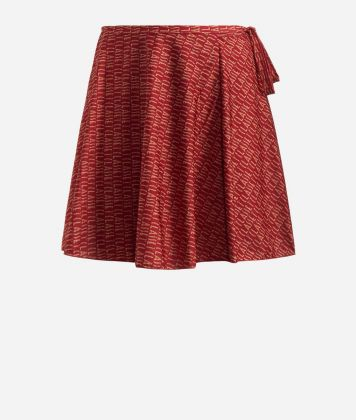 Crêpe fabric skirt with Logomania print Red