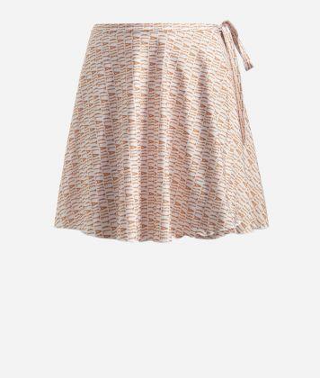 Crêpe fabric skirt with Logomania print White