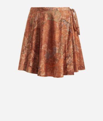 Crêpe fabric skirt with Geo Classic print