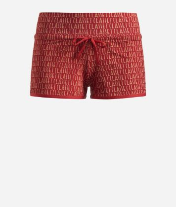 Lycra shorts with Logomania print Red