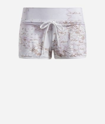 Lycra shorts with Geo Color print White