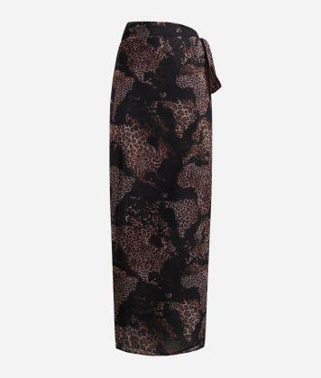Sarong skirt with Geo Animalier print Black