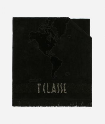 Beach towel with Geo Pieno Lurex print Black