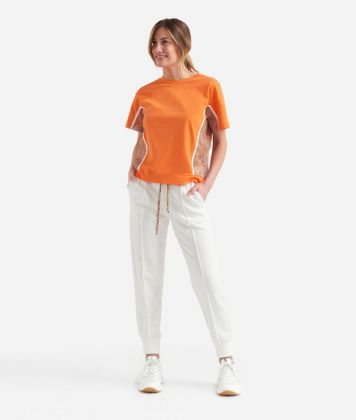 Donnavventura T-shirt with mesh inserts in jersey cotton Orange