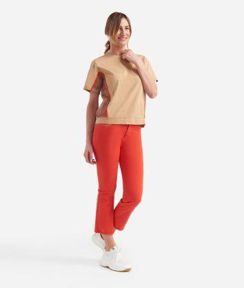 Donnavventura t-shirt con inserti rete in jersey di cotone Beige