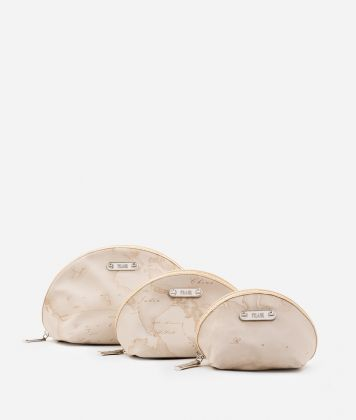 Set containing three pouches in beige Geo fabric