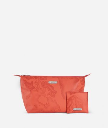 Make-up bag and pouch set in lobster-orange Geo fabric