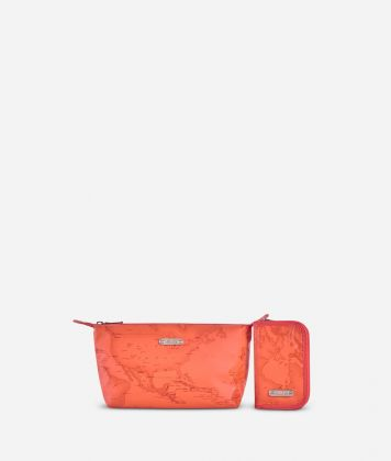 Make-up bag and manicure set in lobster-orange Geo fabric