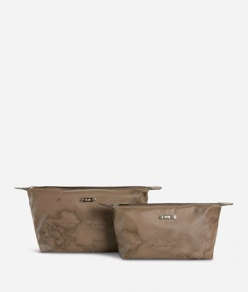 Medium-small make-up bag set in brown Geo fabric