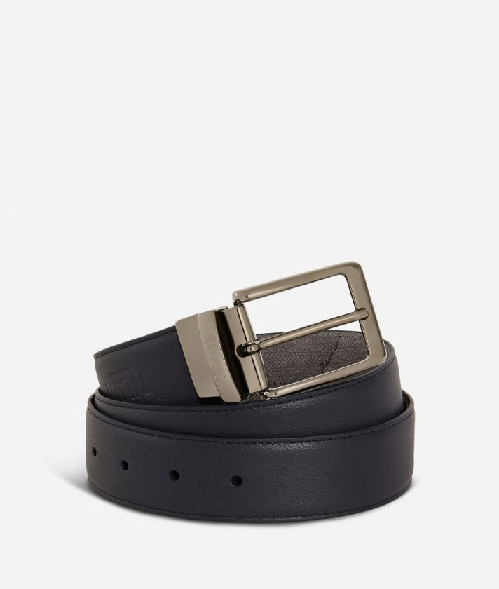 Men's belt leather blue