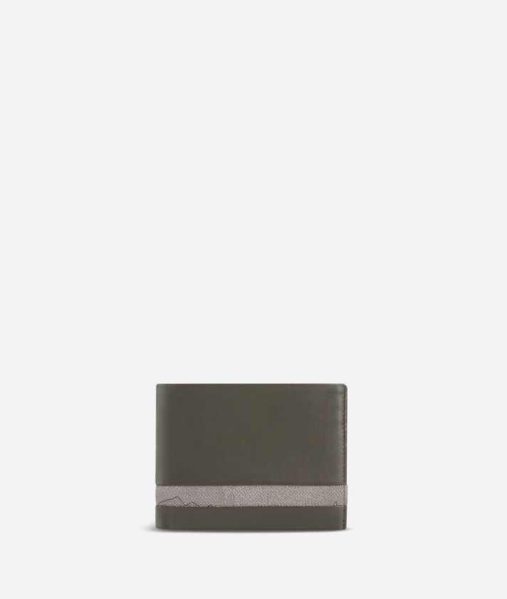 Small leather wallet Geo Dark fabric trims