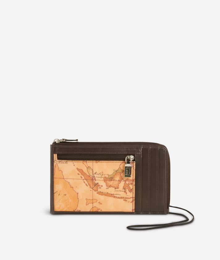 Small leather crossbody bag Geo Classic fabric trims