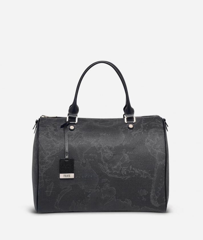 Geo Black Large Boston bag