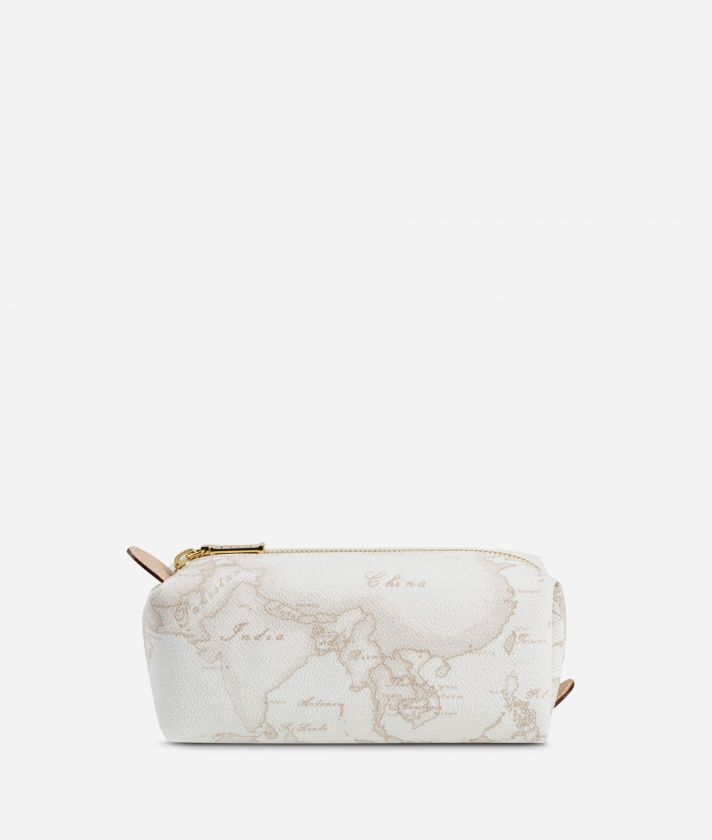 Geo White Zipped envelope pouch