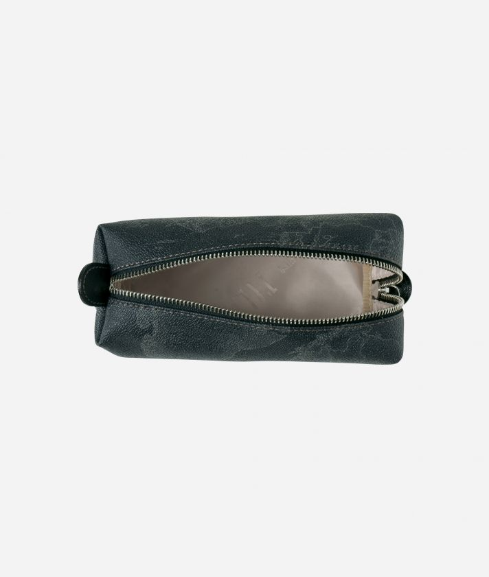 Geo Black Zipped envelope pouch