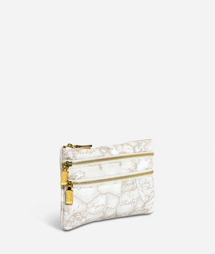 Geo White Medium pouch with pockets
