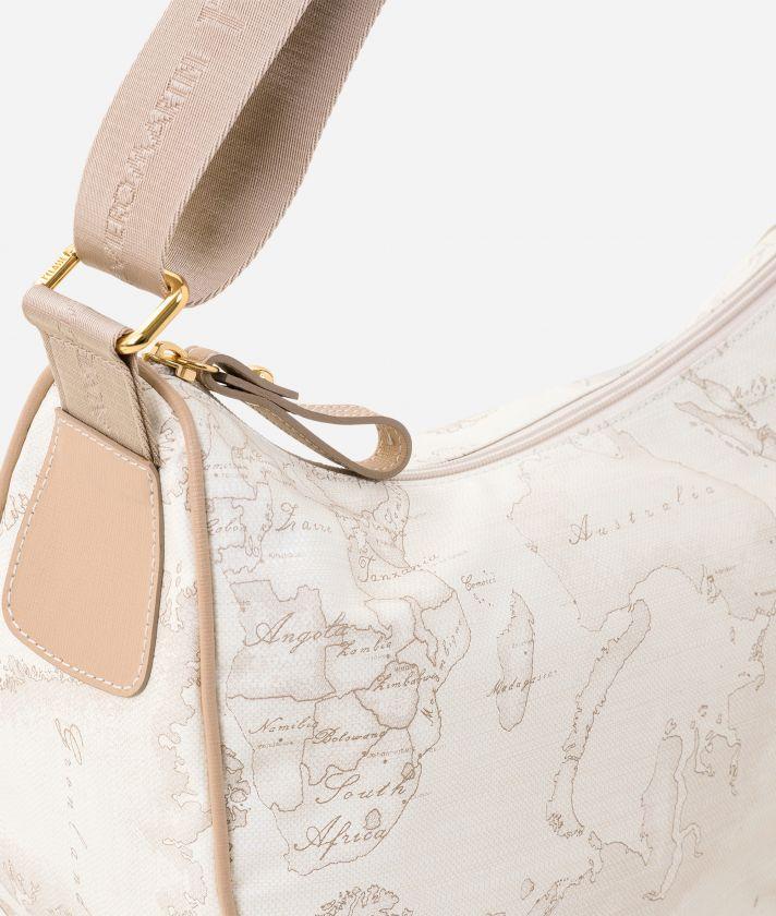 Geo Soft White Small half-moon handbag