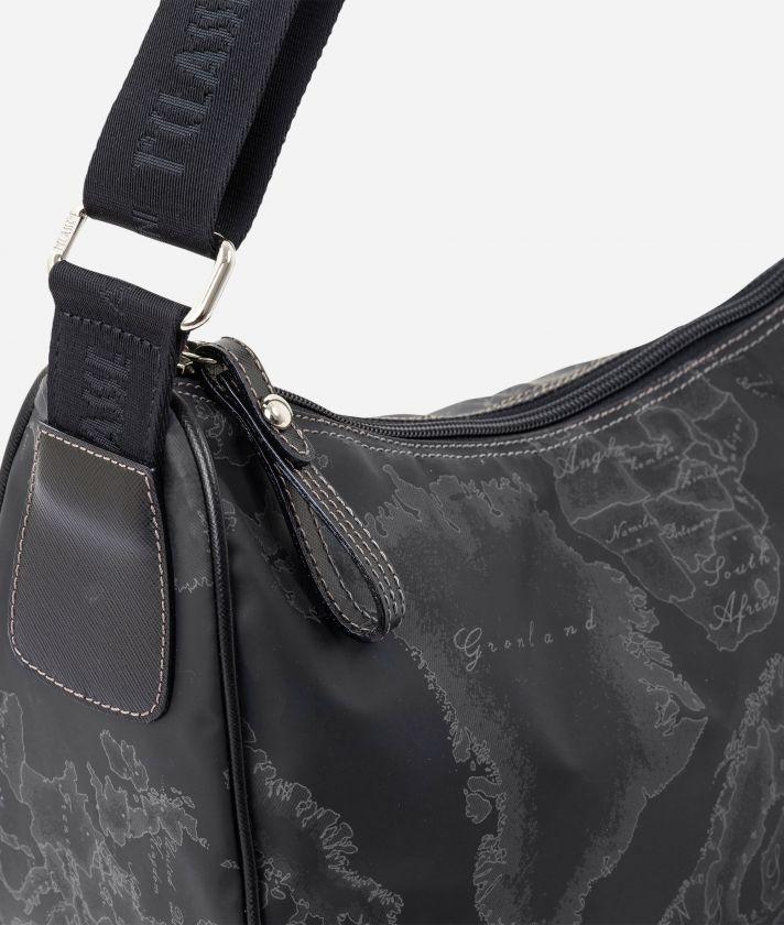 Geo Soft Black Medium half-moon handbag
