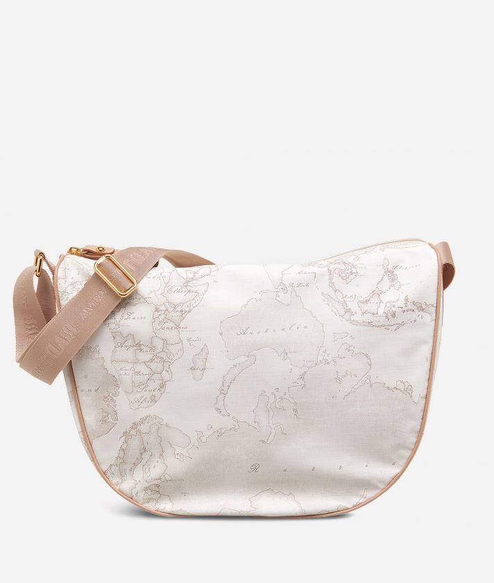 Geo Soft White Medium half-moon handbag