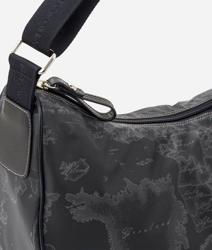 Geo Soft Black Large half-moon bag