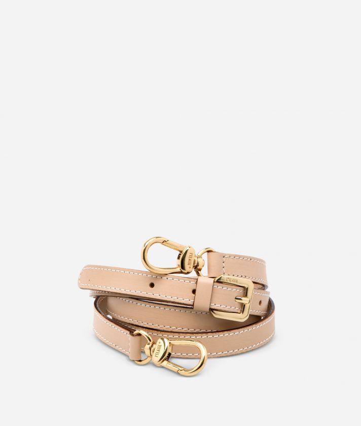 Adjustable strap in neutral-tone leather