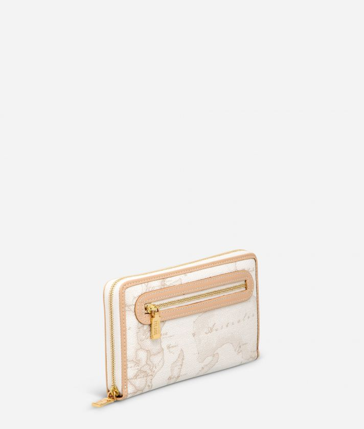 Geo White Large wallet with zip pocket