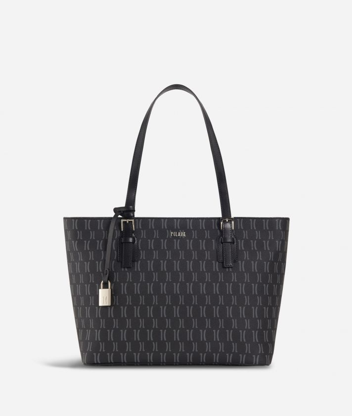 Monogram Medium Shopping Bag Black
