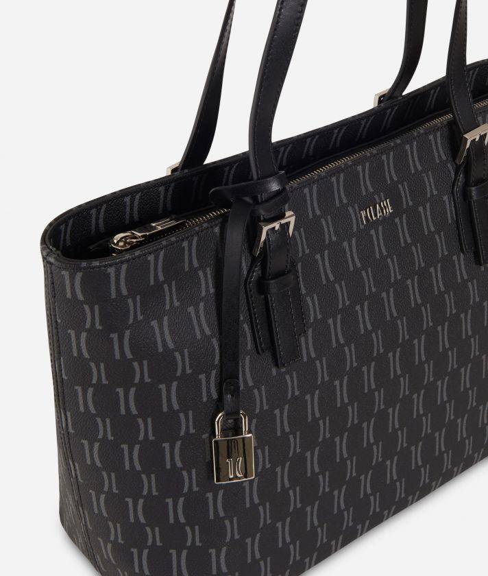 Monogram Medium Shopping Bag Black