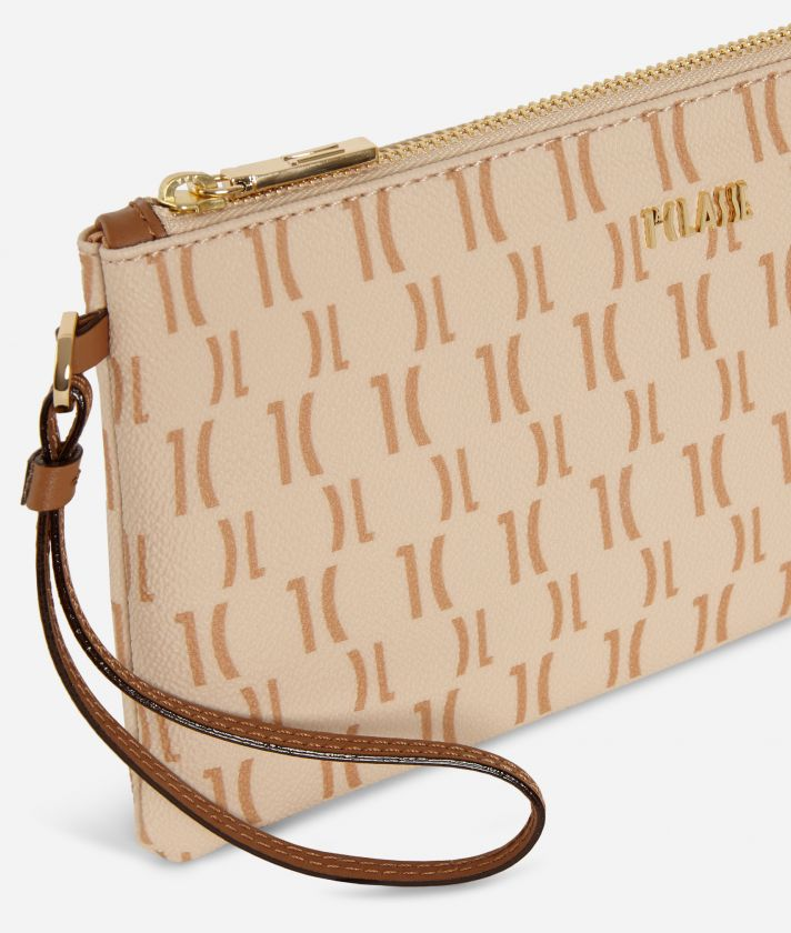 Monogram Clutch with wristband Beige