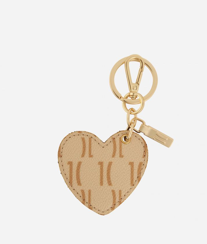 Monogram Heart-shaped Keyring Cream