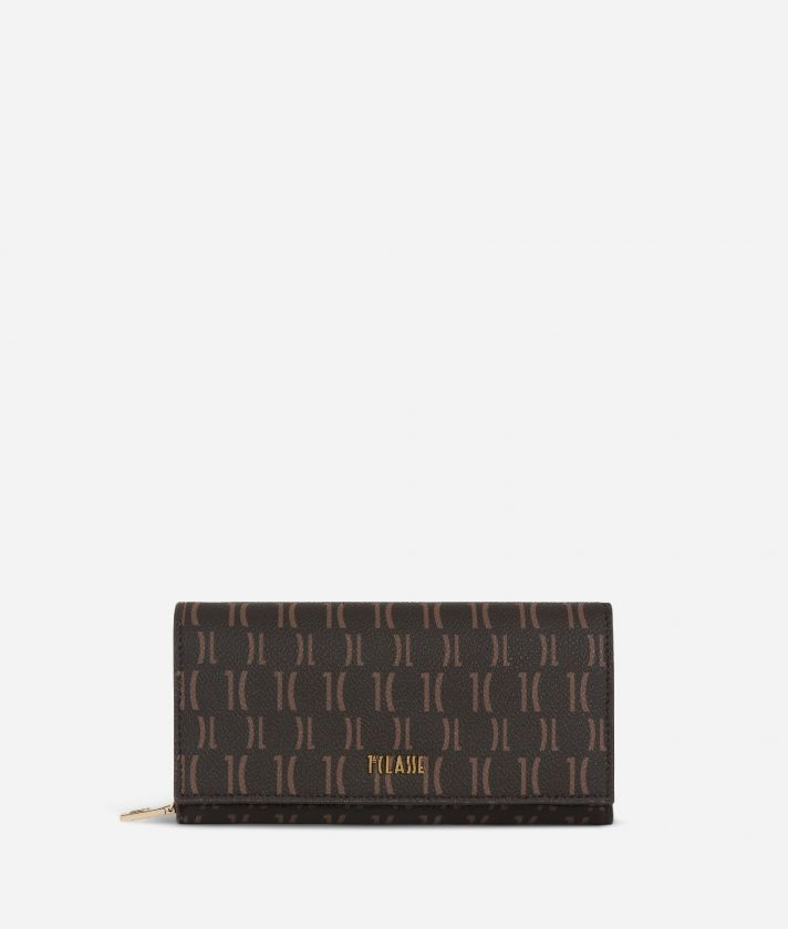 Monogram Woman Wallet Dark Buff