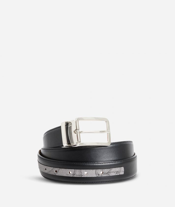 Dark Mood leather belt trimmed in Geo Dark fabric