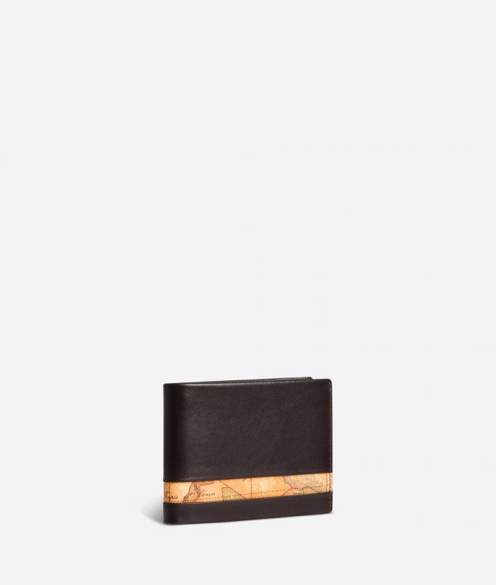 Medium leather wallet Geo Classic fabric trims