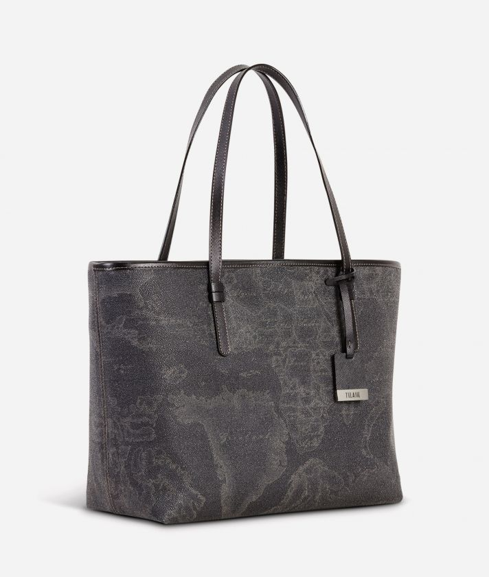 Geo Black Large shopping bag